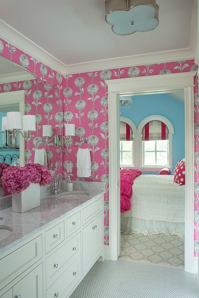 Martha Ou0027Hara Interiors Gave This Girlu0027s Bathroom Pink Wallpaper That Is  Fun And Playful Without Being Too Juvenile. The Wallpaper And Bathroom Will  Grow ...