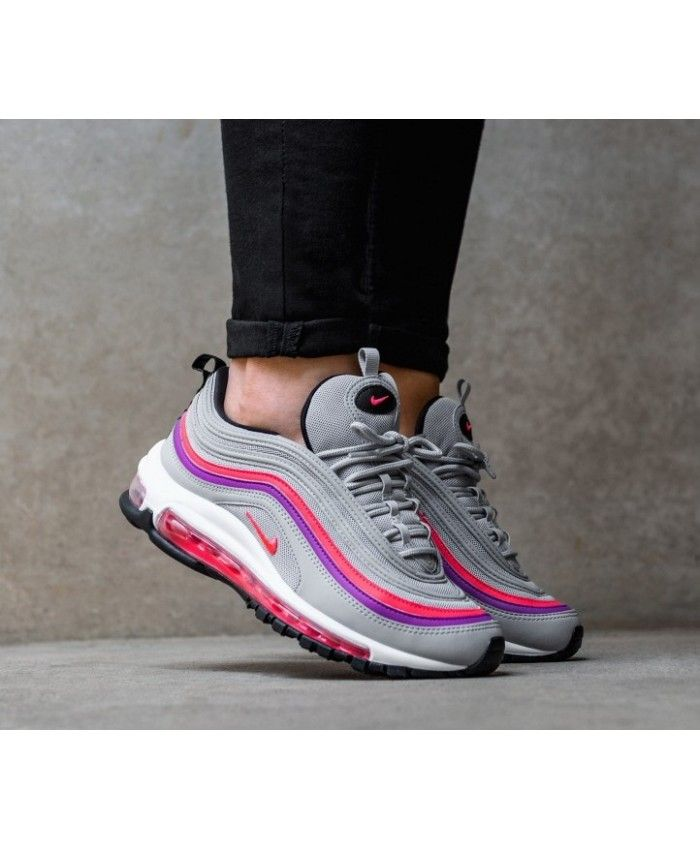 premium selection 5f87d ed952 Womens Nike Air Max 97 Wolf Grey Solar Red Purple Black White Trainer