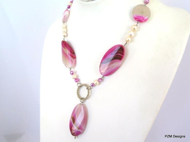 Pink Agate and pearl gemstone statement necklace, Rustic bridal pearl necklace