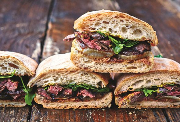 Seared steak. Caramelized onions. Warm ciabatta. Sounds like something we're not going to want to share.