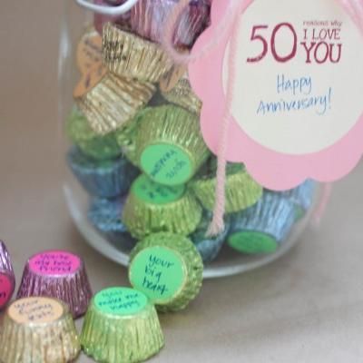 50 Reasons I Love You (Anniversary Gift) Why wait for an ANNIVERSARY, good idea for a friend, sibling, parents, teachers, neighbor etc you come up with the purpose THANK YOU, GET WELL, FRIENDSHIP, THINKING of YOU,
