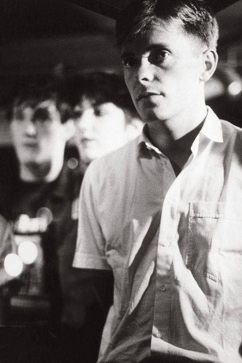 New Order by Kevin Cummins. Paradise Garage, New York City, USA. 7 July 1983.