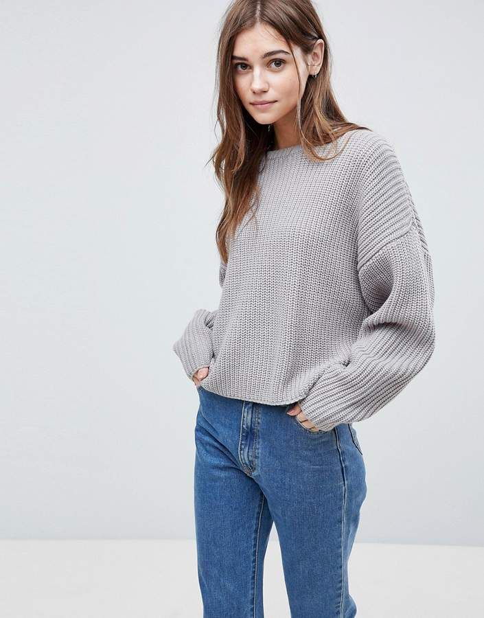 1462b3510 Asos DESIGN chunky sweater in crop with volume sleeve