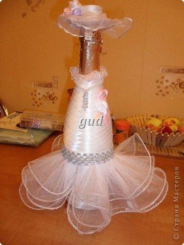 Декор предметов Мастер-класс Свадьба Аппликация Свадебные бутылочки и МК Ленты фото 18