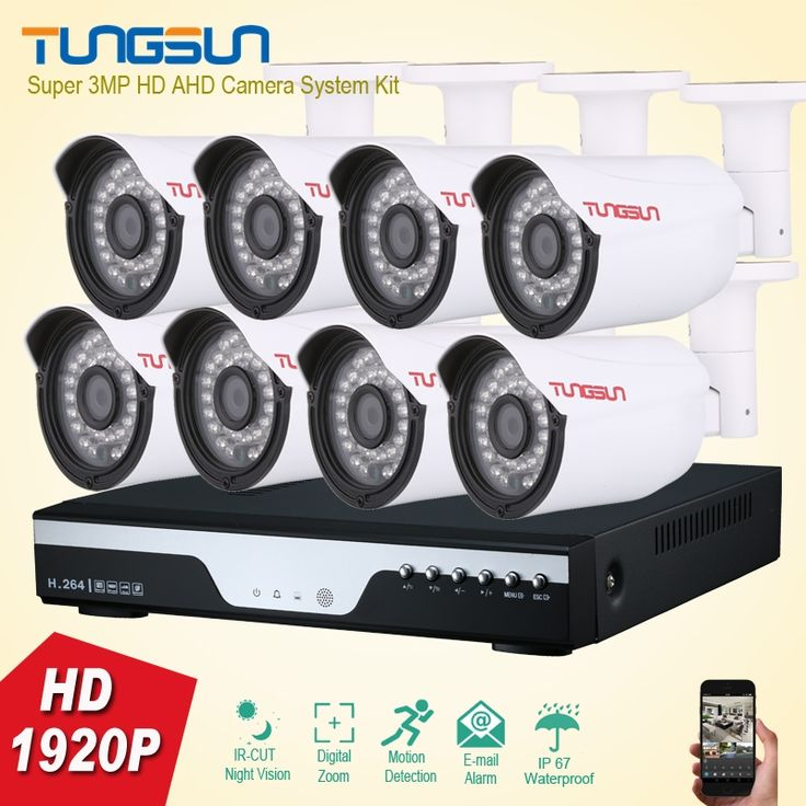 (435.10$)  Watch more here  - Super 3MP Full HD 8 Channel 1920P Surveillance Camera kit Metal Bullet Waterproof Outdoor Security Camera 8CH DVR CCTV System