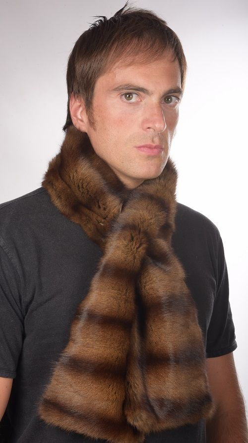 How to be a stylish Man in  winter! Extremely warm and soft Petit-Gris fur scarf.  www.amifur.co.uk