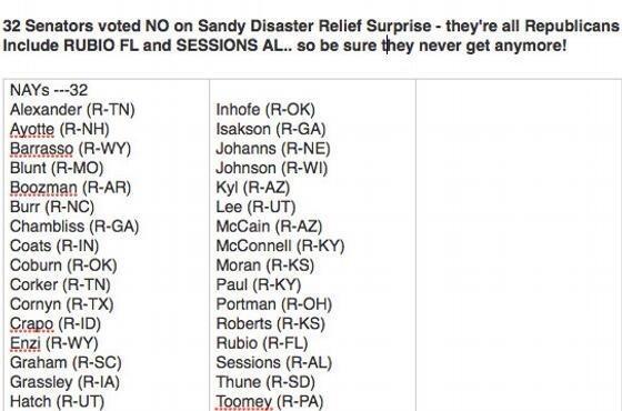 "32 Senators Voted ""NO"" On Hurricane Sandy Relief Funds: ALL TeaTardedRepubliCANTS"