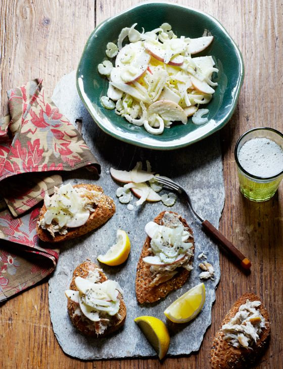 Smoked mackerel pâté with apple, celery and fennel slaw - Crisp, sharp slivers of Bramley apple added to fennel slaw makes the perfect accompaniment to rich mackerel pâté.
