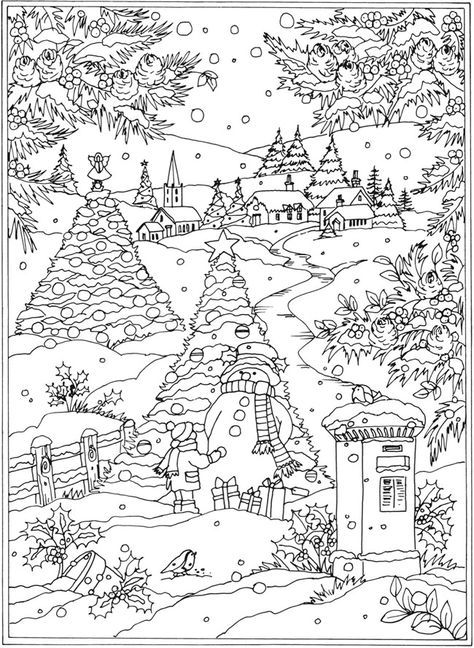 coloring pages christmas winter   Welcome to Dover Publications From: Creative Haven Winter ...