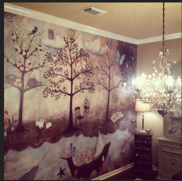 Wall mural from anthropologie enchanted forest baby for Baby mural wallpaper