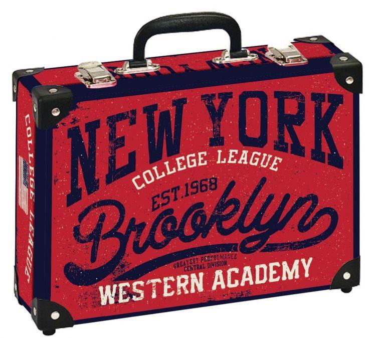 Školní kufřík velký - 35x25x11cm č. 21749 HK Velký  NEW YORK BROOKLYN