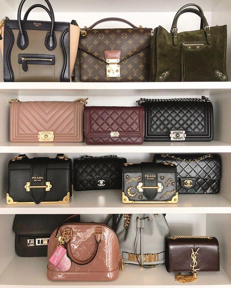 Designer purse assortment: Celine tricolor Nano, classic Louis Vuitton monogra…