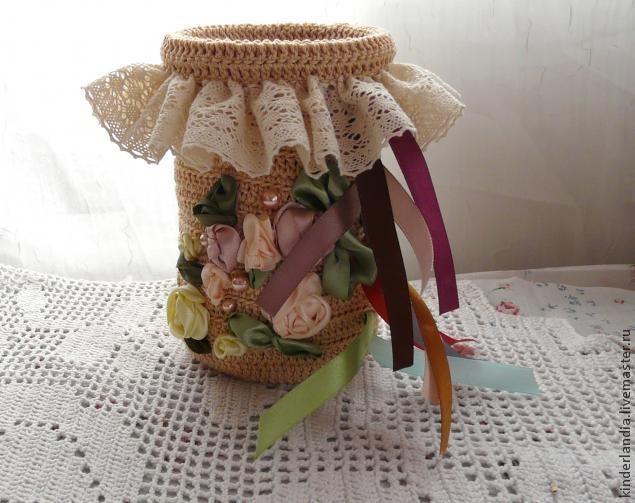 Вяжем корзинку для хранения атласных лент - Ярмарка Мастеров - ручная работа, handmade