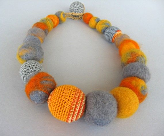 Yellow-grey textile necklace of crocheted and felt beads from artistudio (etsy) http://www.etsy.com/shop/artistudios #accessories #handmade