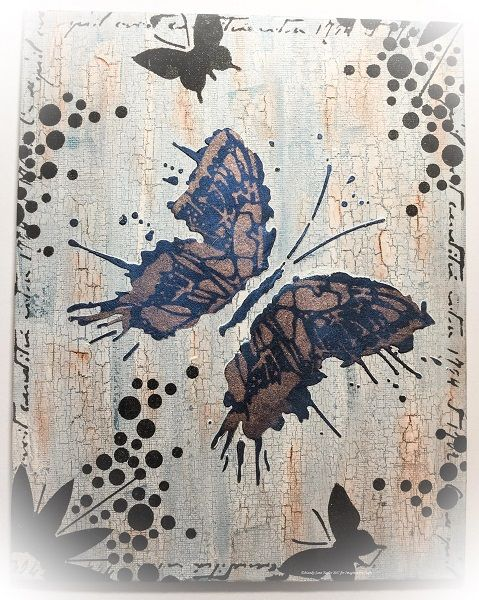 Canvas by Mandy-Jane Taylor for Hochanda ODS June 2017. Imagination Crafts' Art stencils.