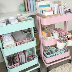 """Reposting this so I can answer the many questions I get asked about these carts: These are the RASKOG carts from IKEA. I spray painted them AFTER they were assembled :) I used the rustoleum paint in """"ocean mist"""" for the mint and plastikote paint in """"cameo pink"""" for the pink cart. I also spray painted some plastic containers to match using a plastic primer beforehand. If there are anymore questions please let me know"""