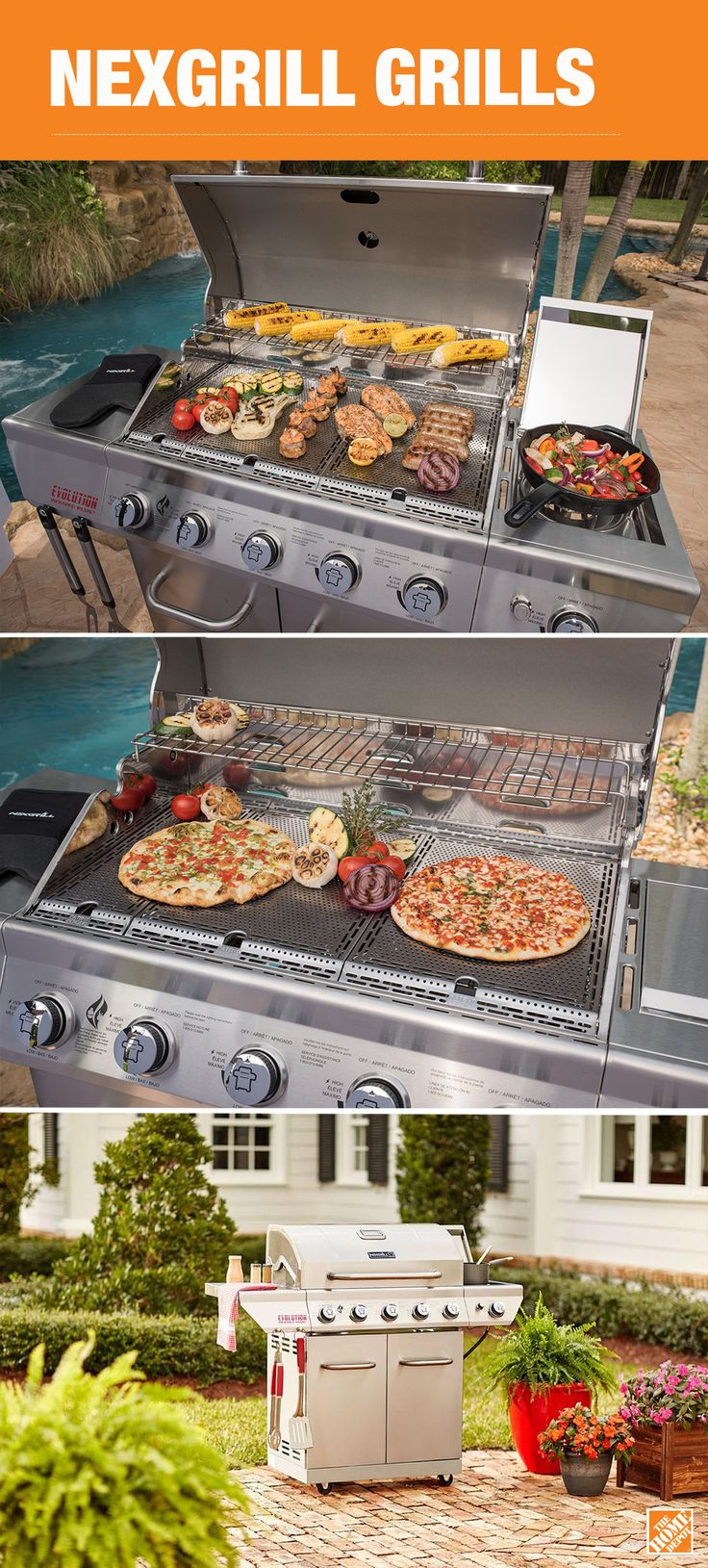 Here's one of the most versatile grills available. You can sear, smoke or sauté to perfection all on a single gas Nexgrill equipped with Evolution Infrared Technology. Position the ingenious infrared plates in the grill to create indirect heat for broiling, baking or smoking. Use the gas burners for traditional direct-heat grilling. This 5-burner gas grill also has a side burner for even more outdoor cooking options. See our entire line of innovative and affordable Nexgrills at The Home…