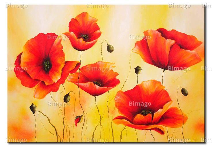 Subtiliteit van een klaproos - decoratief schilderij, klaprozen schilderijen - Bimago