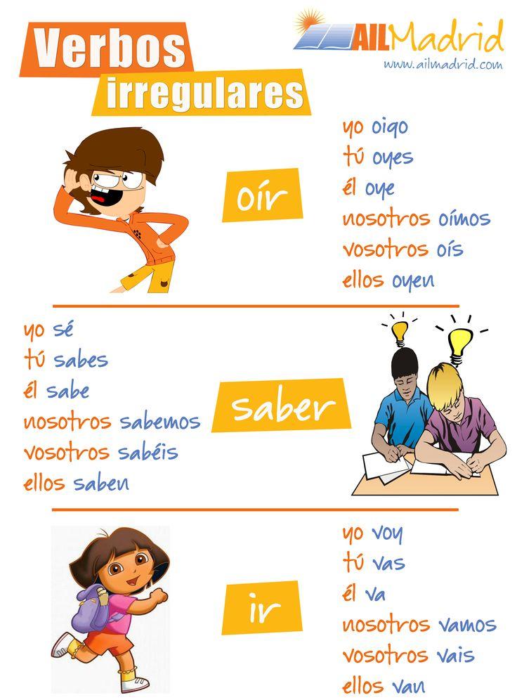 Hemos preparado una lista de algunos verbos irregulares del #español. ¿Conoces más verbos irregulares? #vocabulario