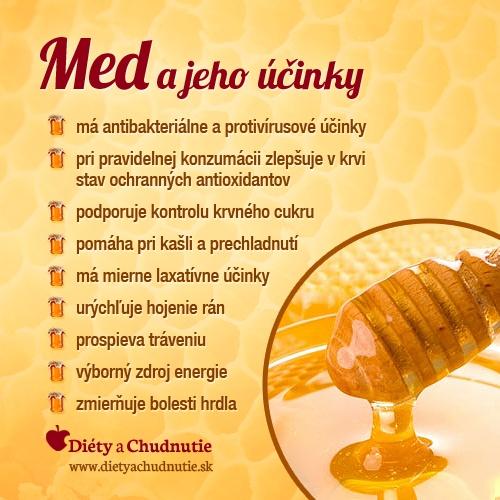 Infografika - med a jeho účinky. Viac informácií o tom, ako schudnúť s medom v článku http://www.dietyachudnutie.sk/ako-schudnut-2/ako-schudnut-so-skoricou-a-medom/