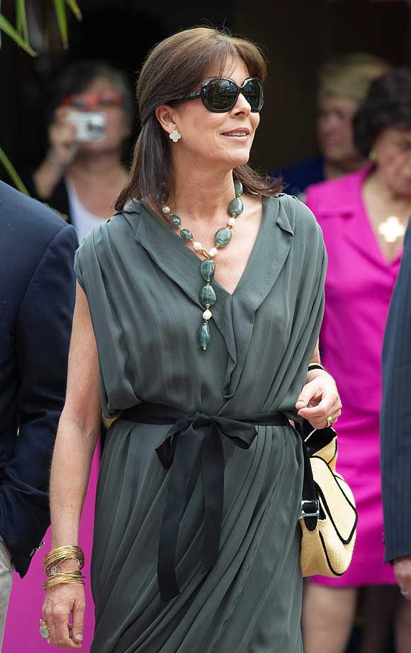Princess Caroline Looks Fashionable Wearing Pearls and Jade at Flower Competition