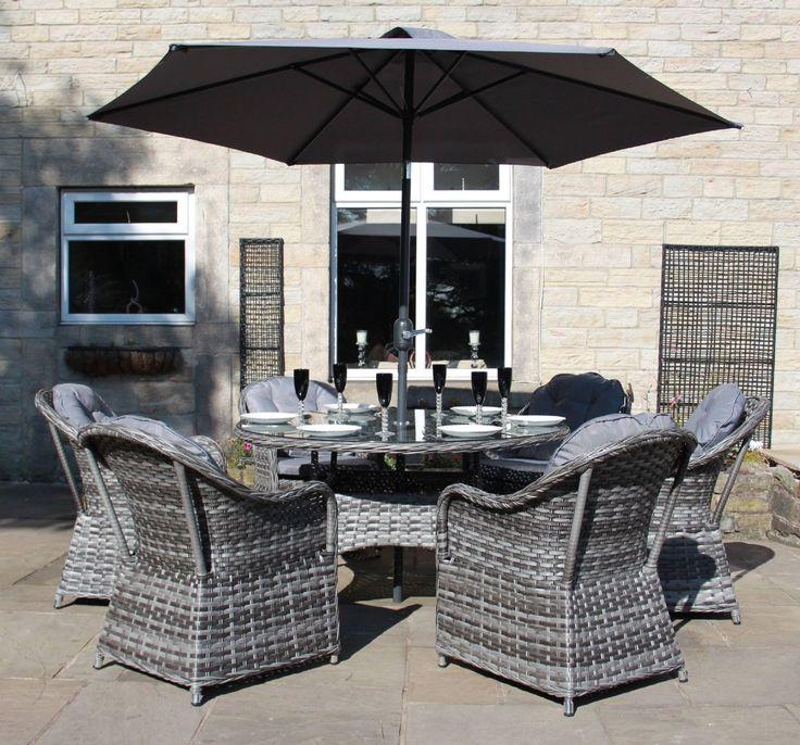 Luxury Grey Rattan 4, 6 or 8 Seat Round Dining Set Garden Conservatory Furniture   eBay