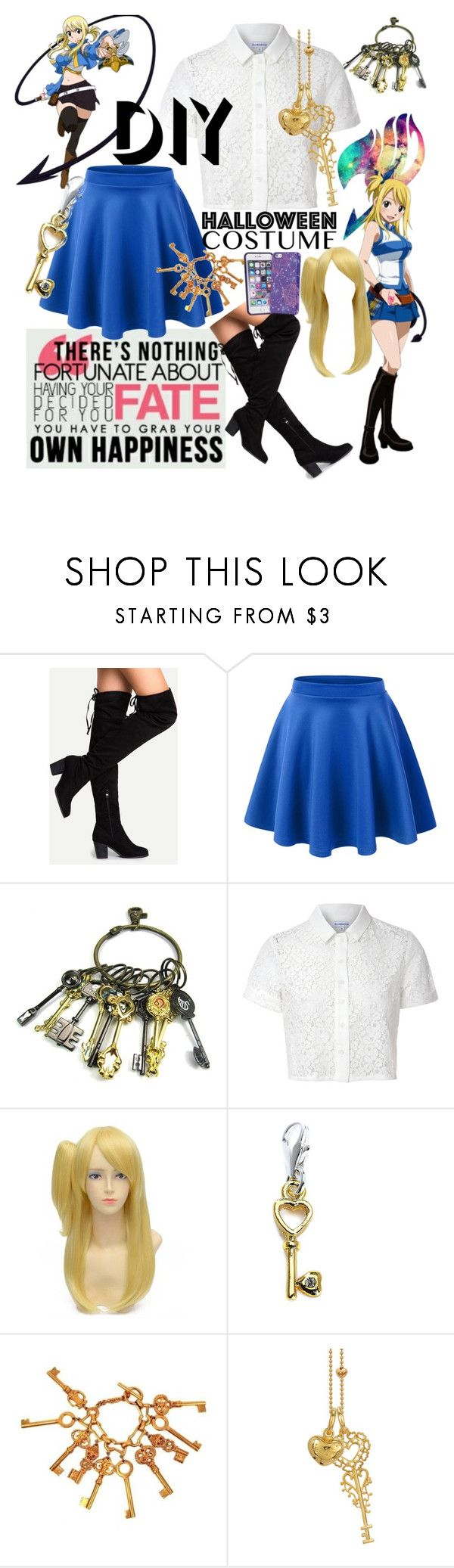 """DIY Lucy Heartfilia Cosplay"" by devilslittleangel ❤ liked on Polyvore featuring Glamorous, Chanel, Blossom Copenhagen, Vera Bradley, halloweencostume and DIYHalloween"