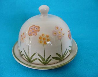 Rustic Butter Dish / Vintage Brown Pottery / English Shop