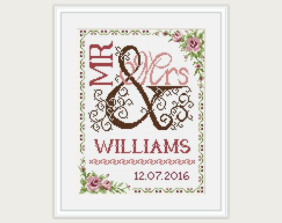 Wedding Cross Stitch Pattern Gift For Couple Mr Mrs Cross Impressive Cross Stitch Wedding Patterns