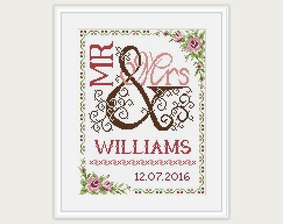Wedding Cross Stitch Pattern  Gift for couple от PatternsTemplates