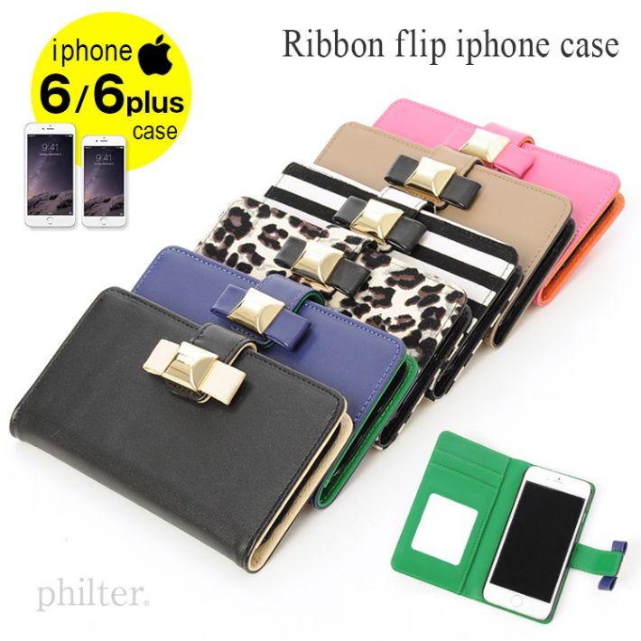 【楽天市場】[メール便送料無料][ポイント10倍][限定在庫]6色展開!iPhone6/iPhone6Plus用手帳型リボンフリップレザーケース[アイフォン6/6プラス対応スマホケース][SUICA/PASMOカード対応スロット付き):カメリア キッチン