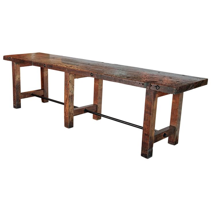 C.1920 French Oak Shop Table as Large Console Table | From a unique collection of antique and modern console tables at https://www.1stdibs.com/furniture/tables/console-tables/