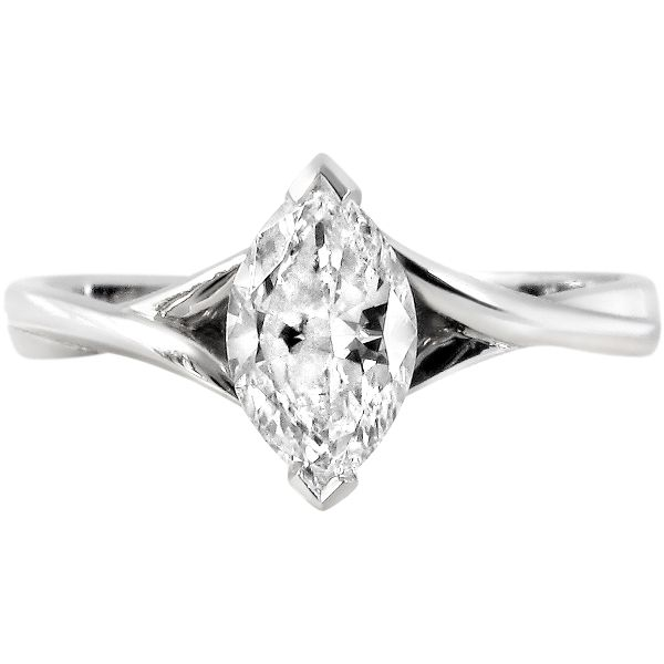 Platinum Woven Shoulder Marquise Cut Ring