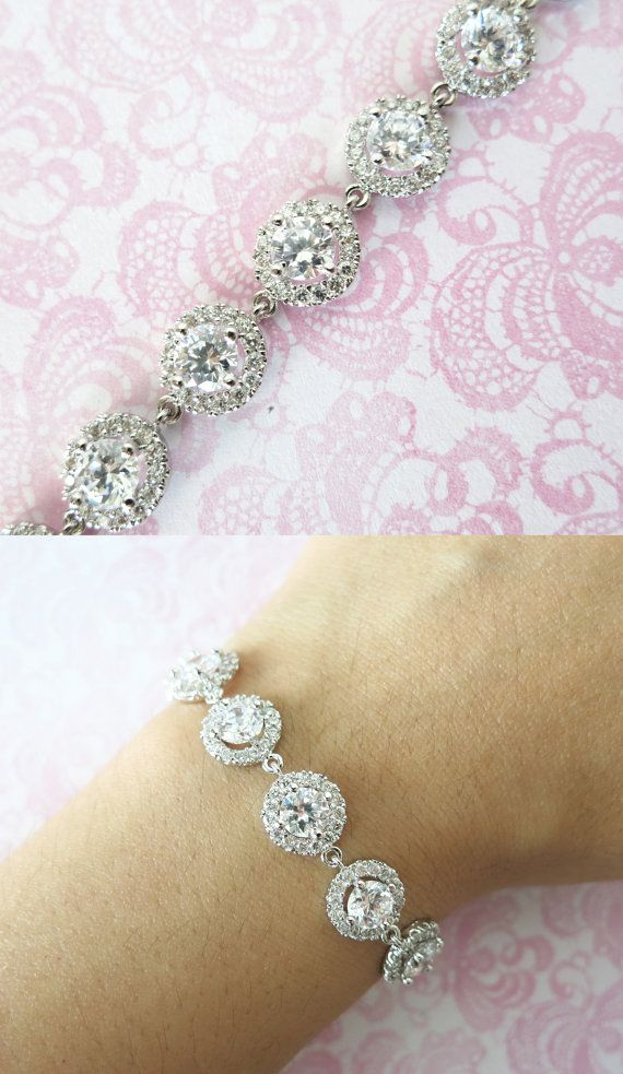 Sparkling Cubic Zirconia Bracelet, gifts for her, sparkly bracelet, silver Bridesmaid bracelet, wedding jewelry, crystal, www.glitzandlove.com