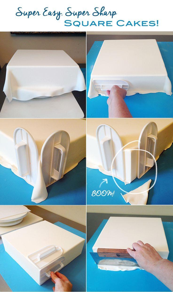 How to get sharp corners on square fondant covered cakes   LIHAO Ausstecher 46 tlg Ausstechformen Fondant Kuchen Keks Tortendeko Set Auswerfer Stempel Marzipan DIY tutorial