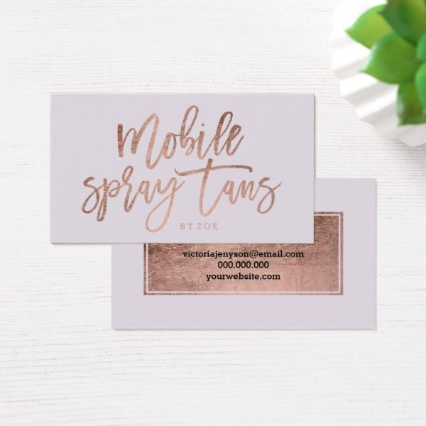 Mobile Spray Tans Logo Rose Gold Typography Lilac Business Card Zazzle Com Spray Tan Business Cards Mobile Spray Tanning Spray Tanning