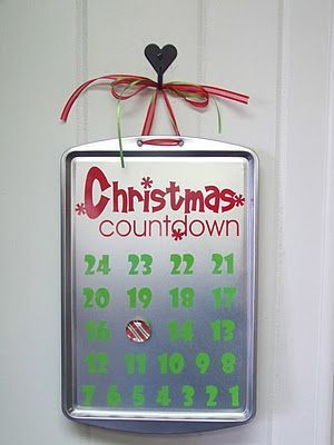 Make your own christmas countdown with a cookie sheet for Make your own christmas countdown calendar