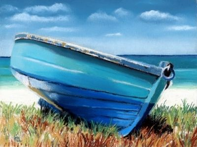 Small Blue Boat, painting by artist Ria Hills