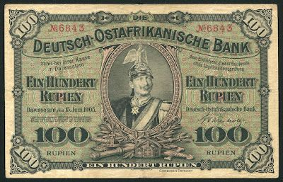 German East Africa banknotes 100 Rupien note of 1905