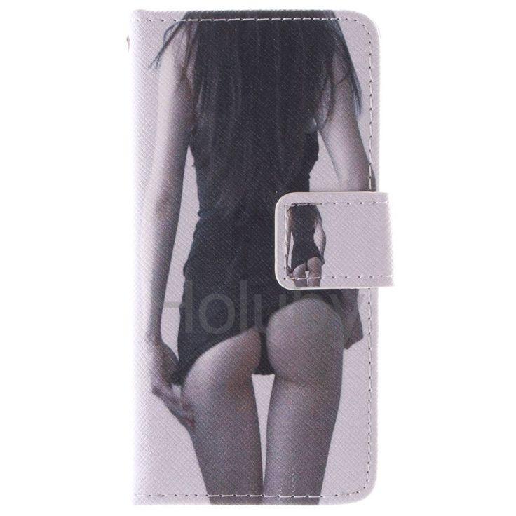 Quermuster Wallet Magnetic Schlag-Standplatz TPU   PU-Leder Tasche für iPhone 5S 5 Sexy Girl