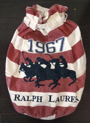 Vintage 90s Ralph Lauren Polo Striped Canvas Duffle Bag Cinch Top Red White Blue