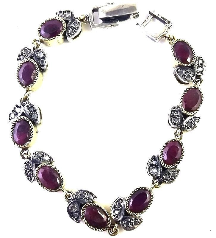 NATURAL RUBY GEMSTONE 925 STERLING SILVER OXIDISED VICTORIAN  BRACELET 7.5 IN L #SilvexStore #Statement