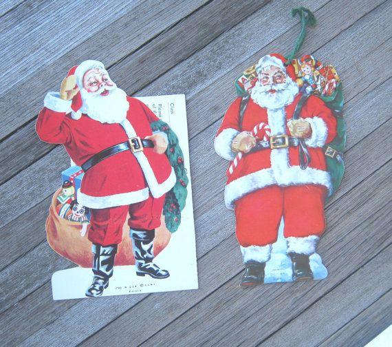 2 Vintage Christmas Club Die Cut Santa Claus by MintysMercantile