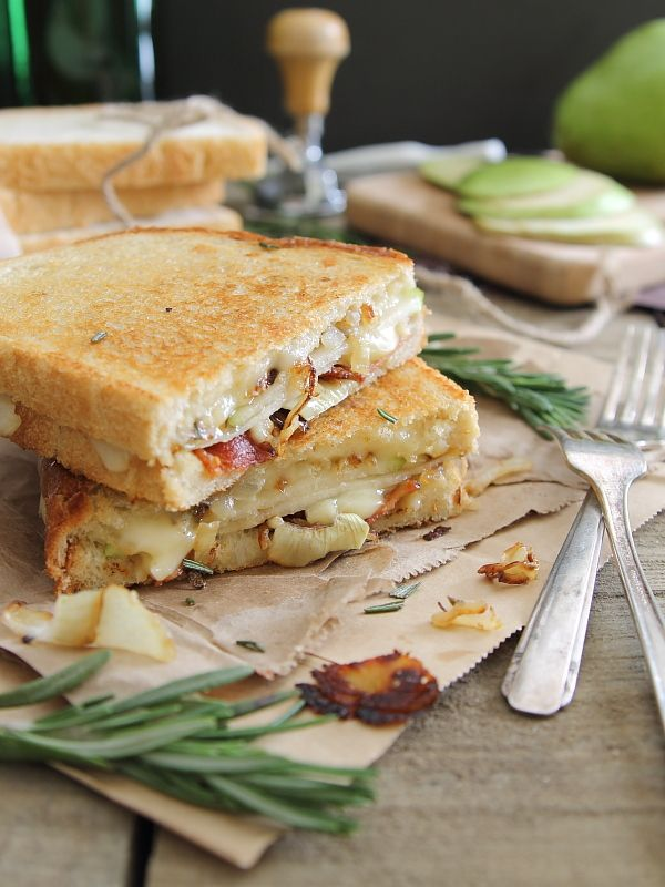 Pear, Bacon and Brie Grilled Cheese on sourdough bread