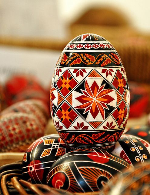 A modern Romanian Easter egg from Bucovina; this is a goose egg