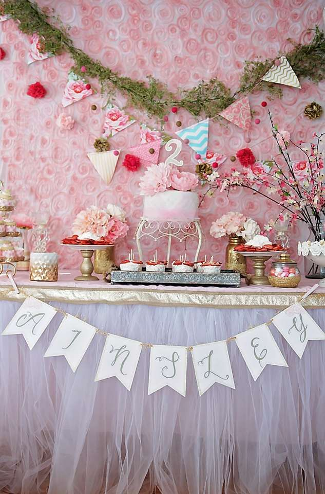 Beautiful backdrop at a garden birthday tea party! See more party planning ideas at CatchMyParty.com!