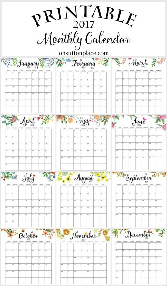2017 Calendario Mensual de impresión gratuita |  Incluye libre del año de un vistazo, meses individuales, planificador semanal, planificador semanal de comidas y una fuente de inspiración para imprimir.
