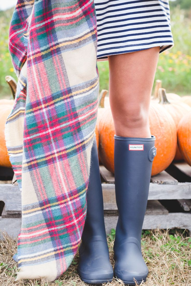plaid blanket scarf, what to wear to a pumpkin patch, fall pumpkin patch, fall fashion, fall style, fall preppy outfit, quilted vest, excursion vest, stripe dress, hunter boots, tour packable hunter boots, fall blanket scarf, fall outfit ideas // grace wainwright from a southern drawl