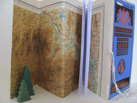 Upcycled map notebook ~ Vintage travel fauxdori style journal ~ Nostalgic, historic South Wales map ~ Original concertina design book