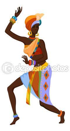 Mujer africana bailando danza ritual — Vector de stock #89558958